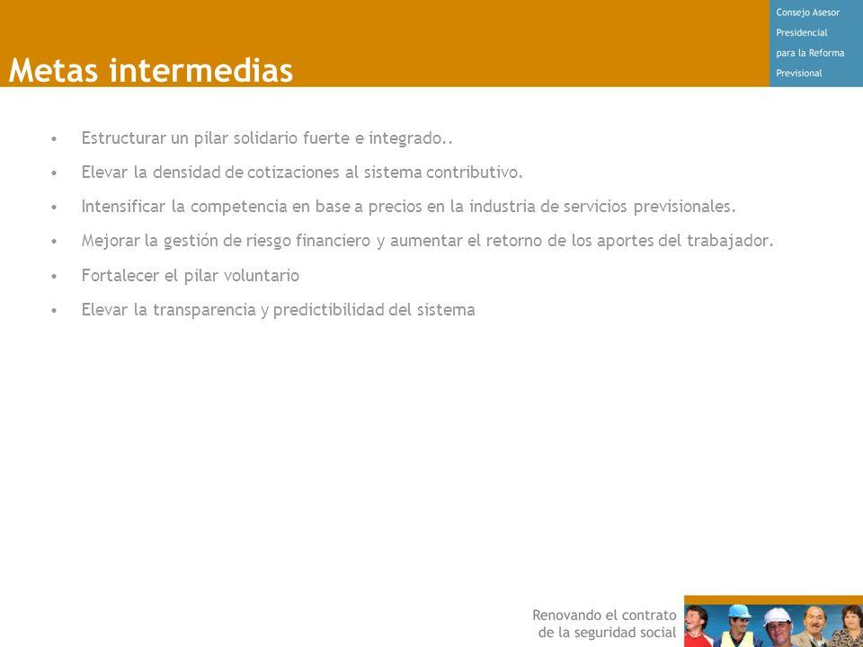 Metas intermedias Estructurar un pilar solidario fuerte e integrado..