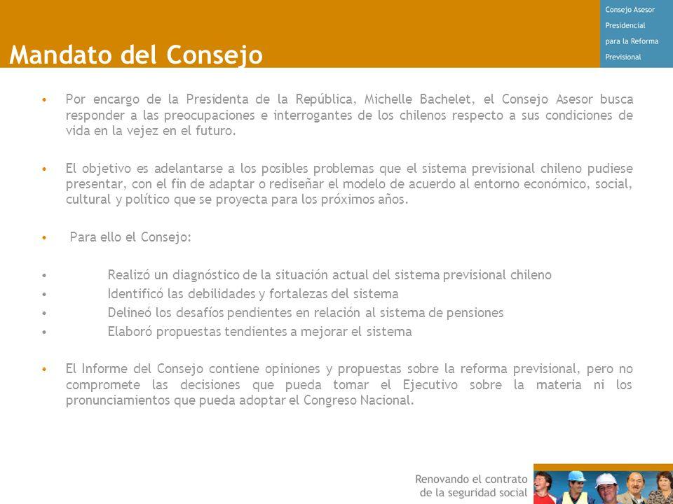 Mandato del Consejo Por encargo de la Presidenta de la República, Michelle Bachelet, el Consejo Asesor busca responder a las preocupaciones e interrogantes de los chilenos respecto a sus condiciones de vida en la vejez en el futuro.
