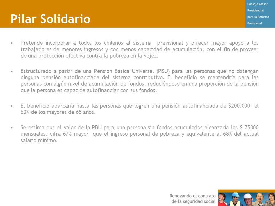 Pilar Solidario Pretende incorporar a todos los chilenos al sistema previsional y ofrecer mayor apoyo a los trabajadores de menores ingresos y con menos capacidad de acumulación, con el fin de proveer de una protección efectiva contra la pobreza en la vejez.