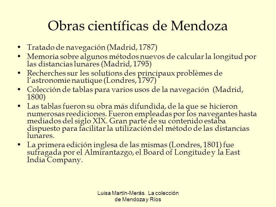 Luisa Martín-Merás. La colección de Mendoza y Ríos Obras científicas de Mendoza Tratado de navegación (Madrid, 1787) Memoria sobre algunos métodos nue