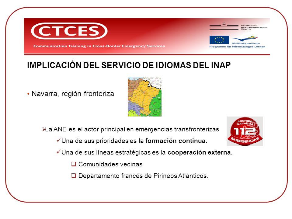 IMPLICACIÓN DEL SERVICIO DE IDIOMAS DEL INAP Navarra, región fronteriza La ANE es el actor principal en emergencias transfronterizas Una de sus priori