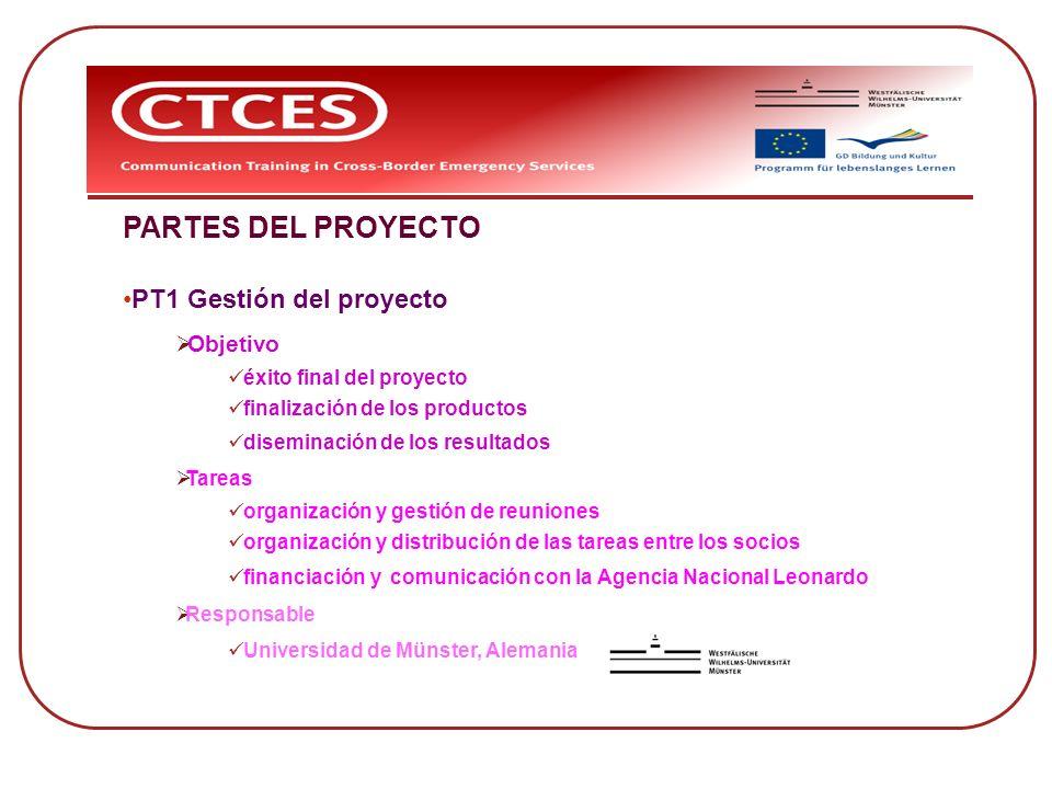PARTES DEL PROYECTO PT1 Gestión del proyecto Objetivo éxito final del proyecto finalización de los productos diseminación de los resultados Tareas org