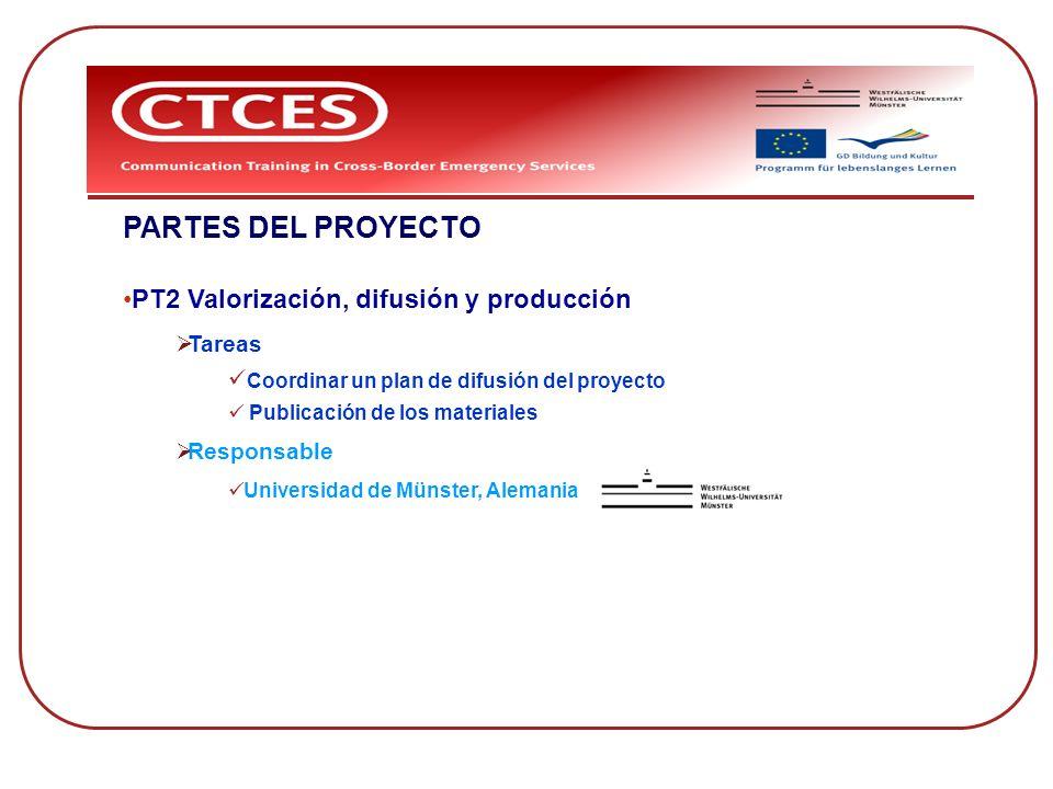 PARTES DEL PROYECTO PT2 Valorización, difusión y producción Tareas Coordinar un plan de difusión del proyecto Publicación de los materiales Responsabl