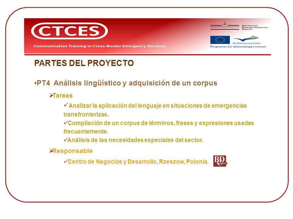PARTES DEL PROYECTO PT4 Análisis lingüístico y adquisición de un corpus Tareas Analizar la aplicación del lenguaje en situaciones de emergencias trans