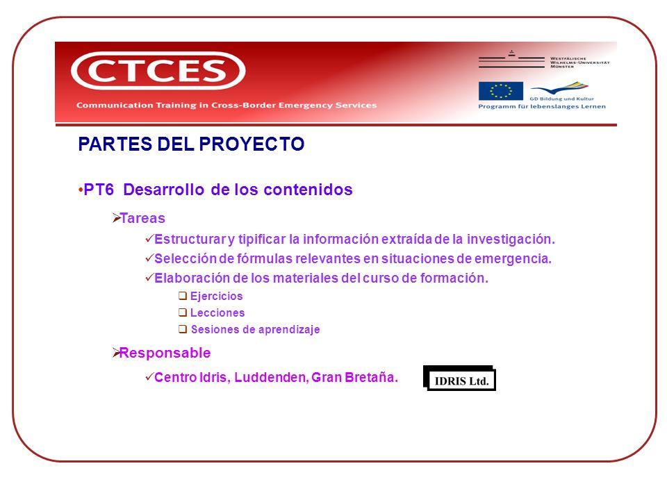 PARTES DEL PROYECTO PT6 Desarrollo de los contenidos Tareas Estructurar y tipificar la información extraída de la investigación. Selección de fórmulas