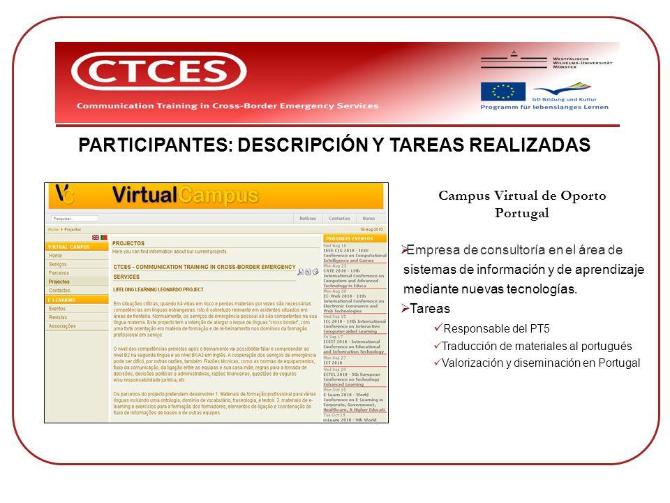 PARTICIPANTES: DESCRIPCIÓN Y TAREAS REALIZADAS Campus Virtual de Oporto Portugal Empresa de consultoría en el área de sistemas de información y de apr