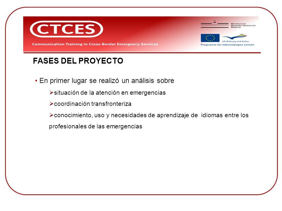 FASES DEL PROYECTO En primer lugar se realizó un análisis sobre situación de la atención en emergencias coordinación transfronteriza conocimiento, uso
