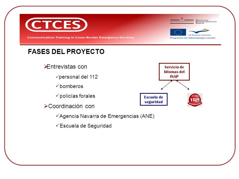 FASES DEL PROYECTO Entrevistas con personal del 112 bomberos policías forales Coordinación con Agencia Navarra de Emergencias (ANE) Escuela de Segurid