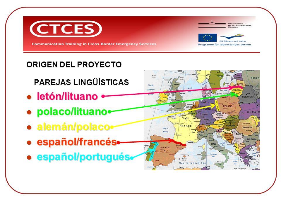 ORIGEN DEL PROYECTO PAREJAS LINGÜÍSTICAS letón/lituano letón/lituano polaco/lituano polaco/lituano alemán/polaco alemán/polaco español/francés español