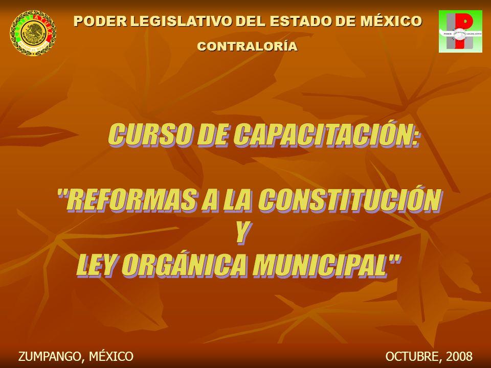 PODER LEGISLATIVO DEL ESTADO DE MÉXICO CONTRALORÍA OCTUBRE, 2008ZUMPANGO, MÉXICO