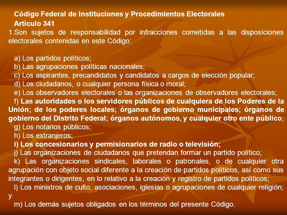 Artículo 341 1.Son sujetos de responsabilidad por infracciones cometidas a las disposiciones electorales contenidas en este Código: a) Los partidos po