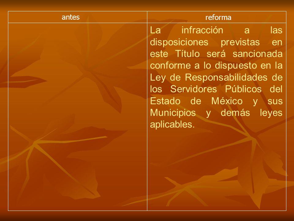 antes reforma La infracción a las disposiciones previstas en este Título será sancionada conforme a lo dispuesto en la Ley de Responsabilidades de los Servidores Públicos del Estado de México y sus Municipios y demás leyes aplicables.