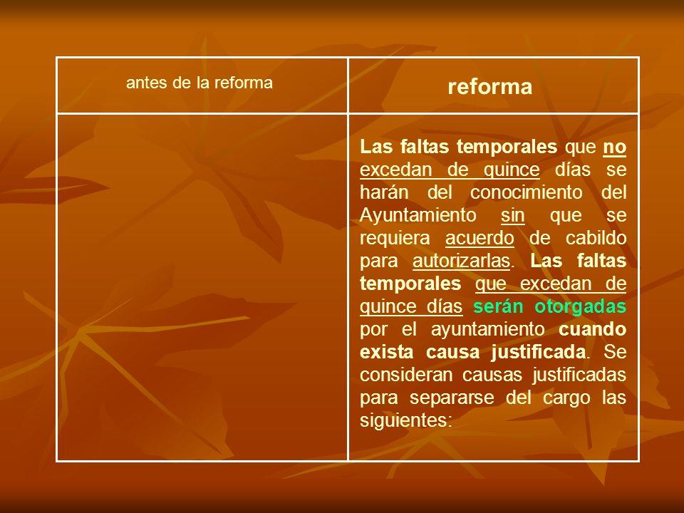 antes de la reforma reforma Las faltas temporales que no excedan de quince días se harán del conocimiento del Ayuntamiento sin que se requiera acuerdo de cabildo para autorizarlas.