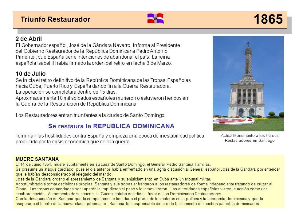 Triunfo Restaurador 1865 Los Restauradores entran triunfantes a la ciudad de Santo Domingo. Se restaura la REPUBLICA DOMINICANA Terminan las hostilida