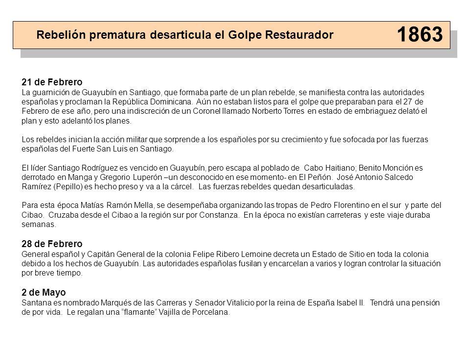 21 de Febrero La guarnición de Guayubín en Santiago, que formaba parte de un plan rebelde, se manifiesta contra las autoridades españolas y proclaman