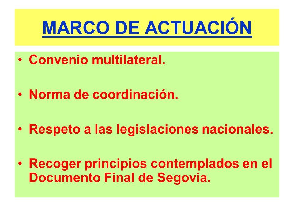 MARCO DE ACTUACIÓN Convenio multilateral. Norma de coordinación. Respeto a las legislaciones nacionales. Recoger principios contemplados en el Documen