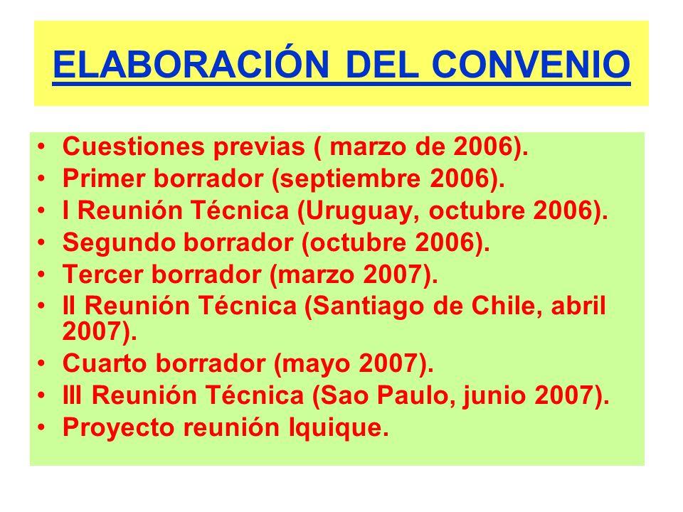 ELABORACIÓN DEL CONVENIO Cuestiones previas ( marzo de 2006). Primer borrador (septiembre 2006). I Reunión Técnica (Uruguay, octubre 2006). Segundo bo