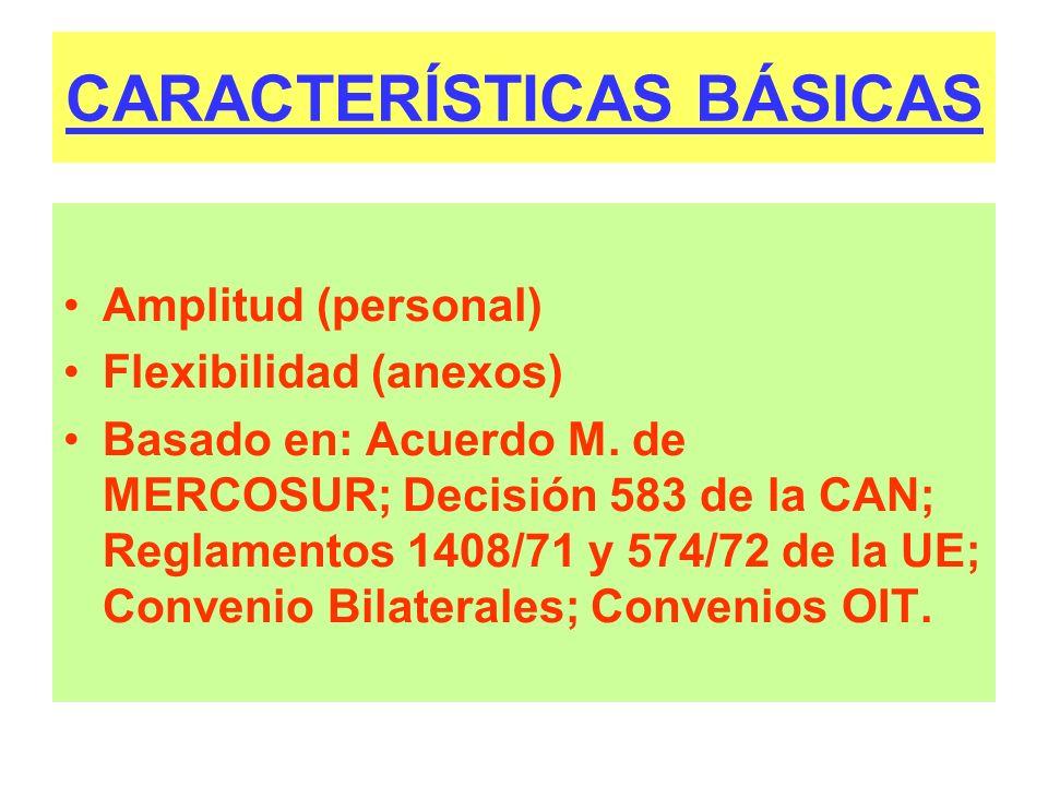 CARACTERÍSTICAS BÁSICAS Amplitud (personal) Flexibilidad (anexos) Basado en: Acuerdo M. de MERCOSUR; Decisión 583 de la CAN; Reglamentos 1408/71 y 574