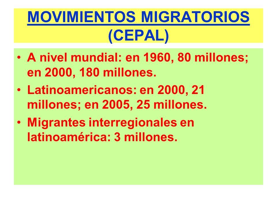 MOVIMIENTOS MIGRATORIOS EN ALGUNOS PAÍSES (CEPAL 2000) InmigrantesEmigrantes Argentina1.531.000 507.000 Bolivia 95.000 346.000 Brasil 683.000 730.000 Chile 195.000 453.000 Colombia 66.0001.441.000 Ecuador 104.000 585.000 Paraguay 171.000 368.000 Perú 23.000 634.000 Uruguay 46.000 278.000 Venezuela1.014.000 207.000