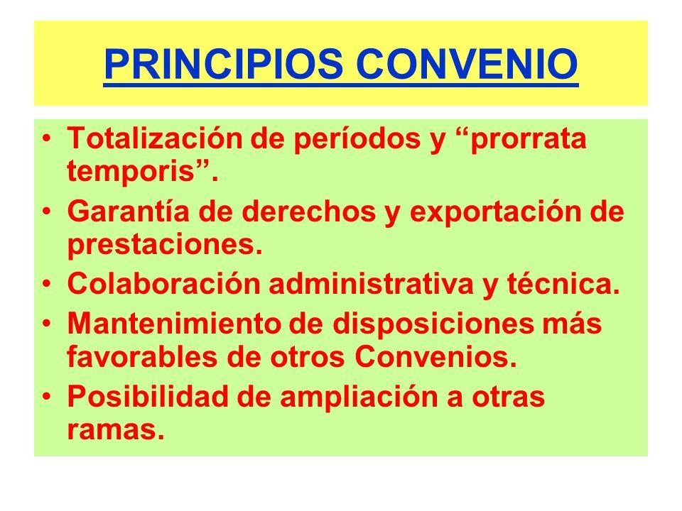 PRINCIPIOS CONVENIO Totalización de períodos y prorrata temporis. Garantía de derechos y exportación de prestaciones. Colaboración administrativa y té