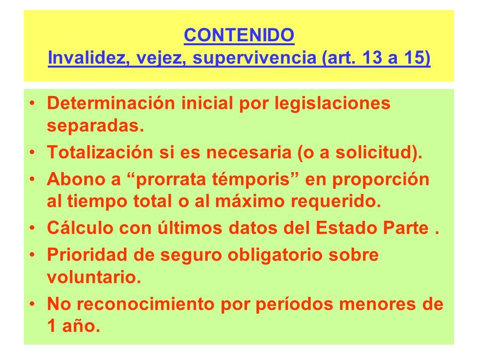 CONTENIDO Invalidez, vejez, supervivencia (art. 13 a 15) Determinación inicial por legislaciones separadas. Totalización si es necesaria (o a solicitu