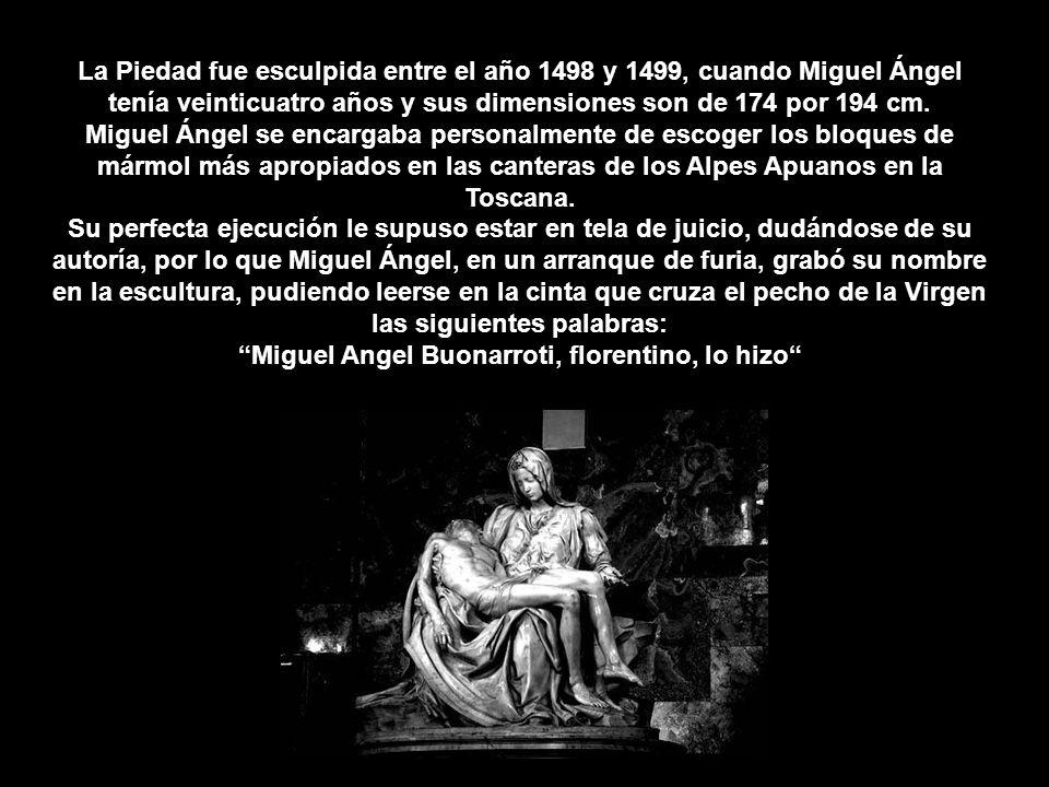 La Piedad fue esculpida entre el año 1498 y 1499, cuando Miguel Ángel tenía veinticuatro años y sus dimensiones son de 174 por 194 cm.