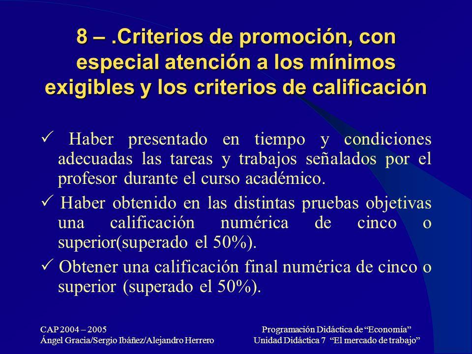 CAP 2004 – 2005 Ángel Gracia/Sergio Ibáñez/Alejandro Herrero Programación Didáctica de Economía Unidad Didáctica 7 El mercado de trabajo 8 –.Criterios