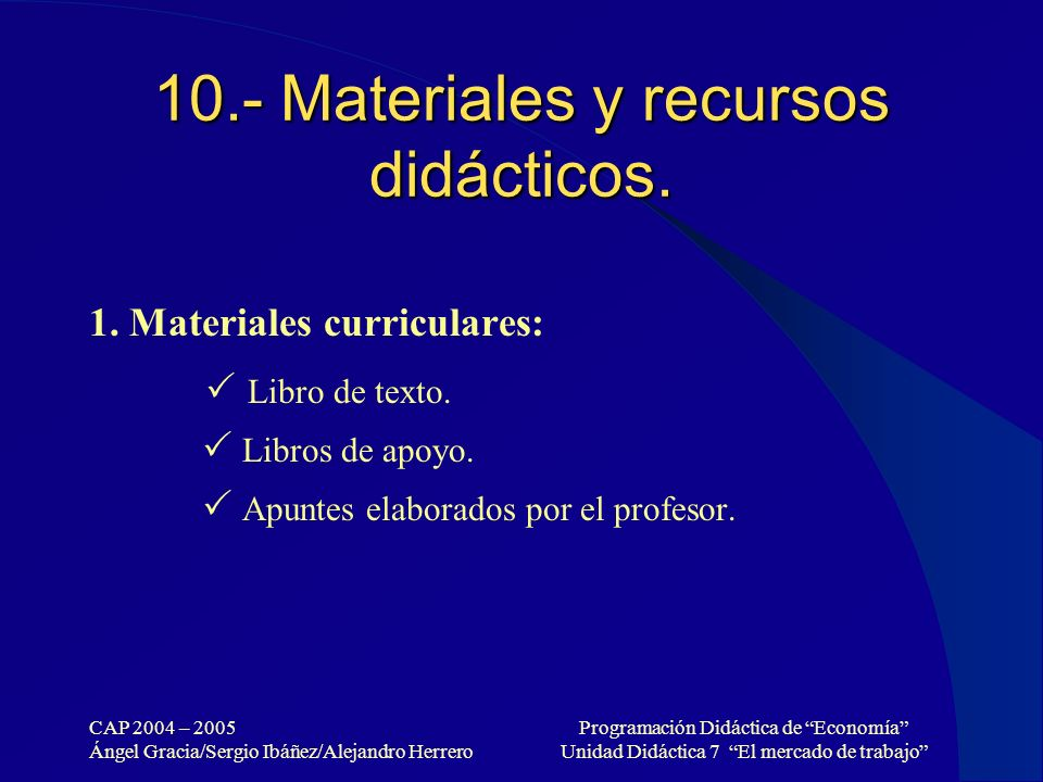 CAP 2004 – 2005 Ángel Gracia/Sergio Ibáñez/Alejandro Herrero Programación Didáctica de Economía Unidad Didáctica 7 El mercado de trabajo 10.- Material