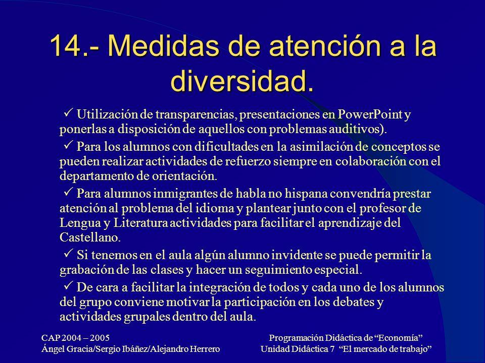 CAP 2004 – 2005 Ángel Gracia/Sergio Ibáñez/Alejandro Herrero Programación Didáctica de Economía Unidad Didáctica 7 El mercado de trabajo 14.- Medidas