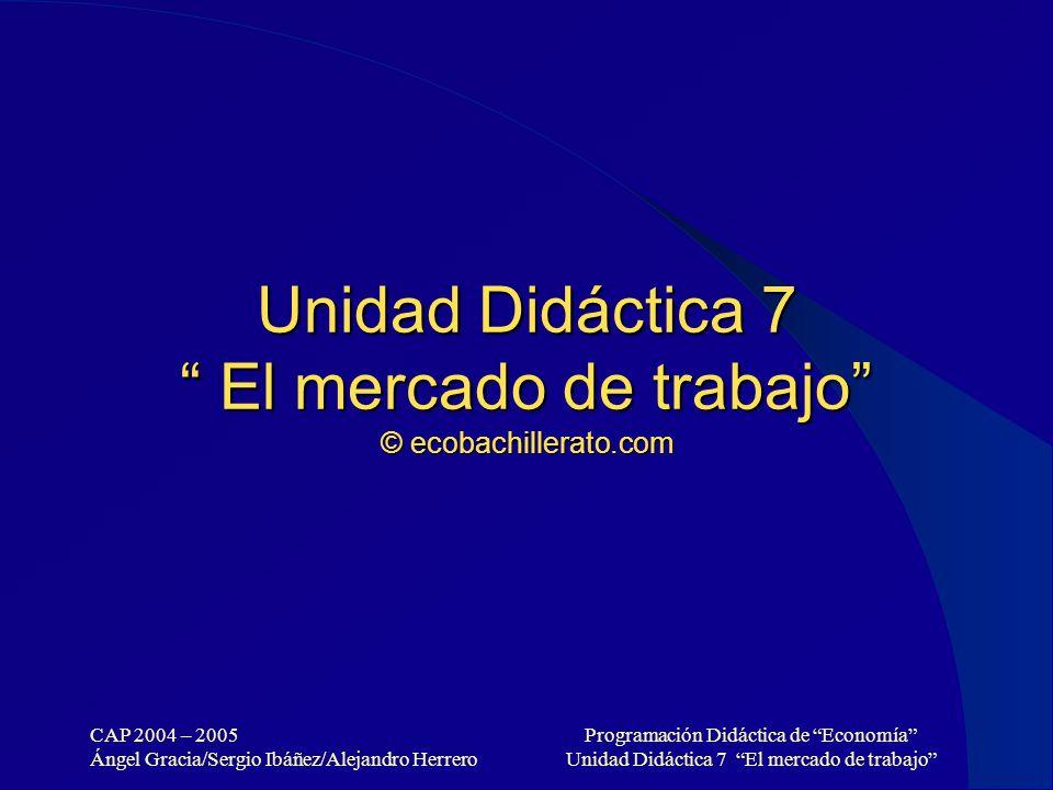 CAP 2004 – 2005 Ángel Gracia/Sergio Ibáñez/Alejandro Herrero Programación Didáctica de Economía Unidad Didáctica 7 El mercado de trabajo Unidad Didáct