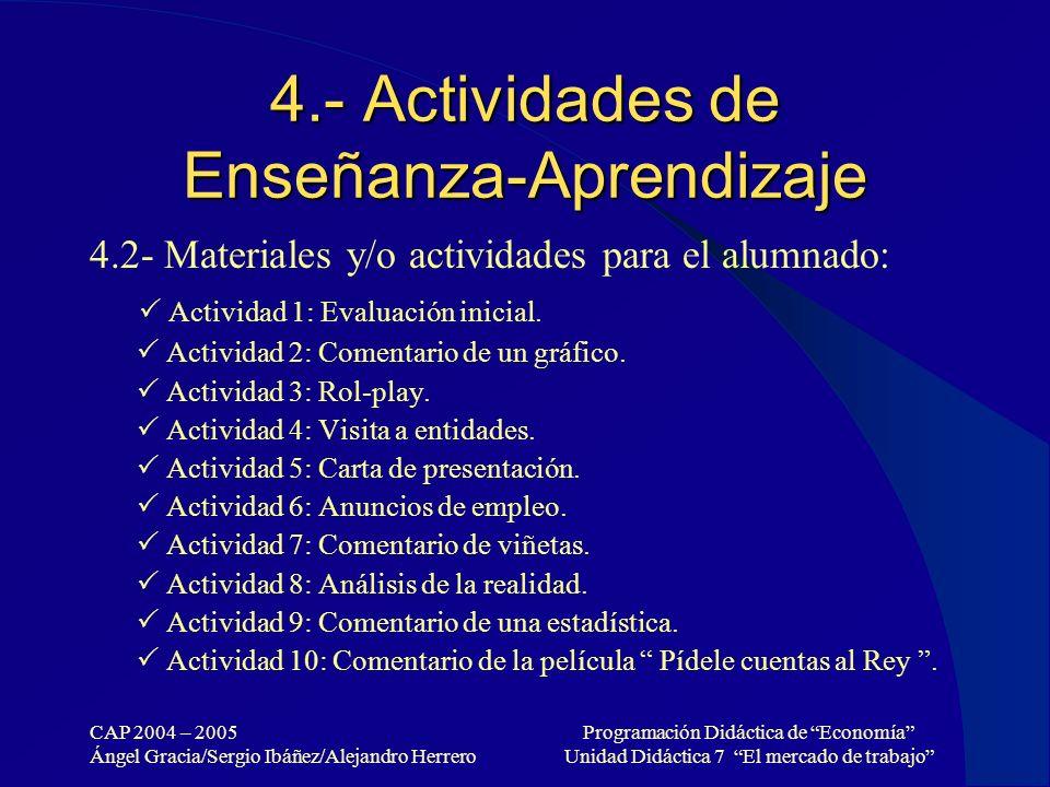 CAP 2004 – 2005 Ángel Gracia/Sergio Ibáñez/Alejandro Herrero Programación Didáctica de Economía Unidad Didáctica 7 El mercado de trabajo 4.- Actividad