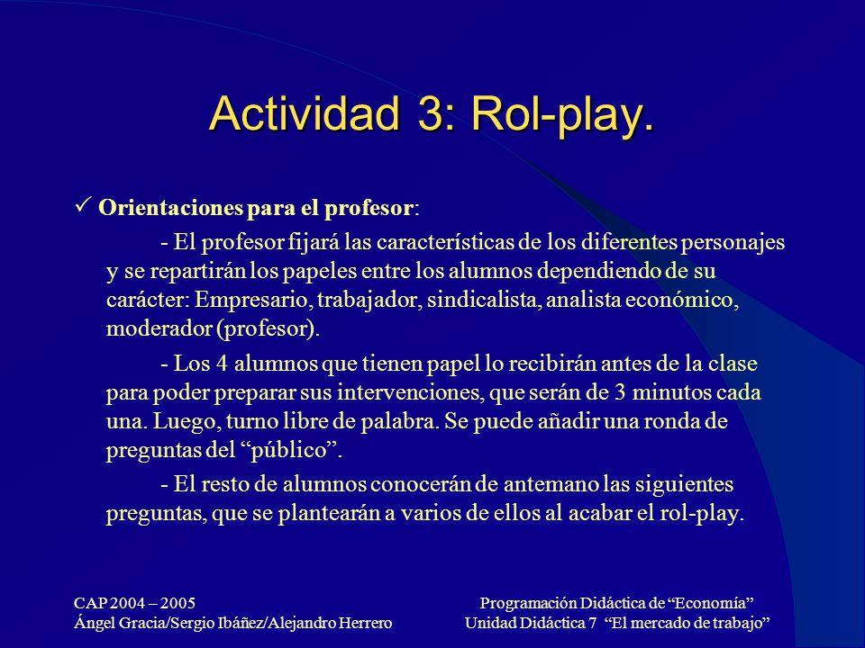 CAP 2004 – 2005 Ángel Gracia/Sergio Ibáñez/Alejandro Herrero Programación Didáctica de Economía Unidad Didáctica 7 El mercado de trabajo Actividad 3: