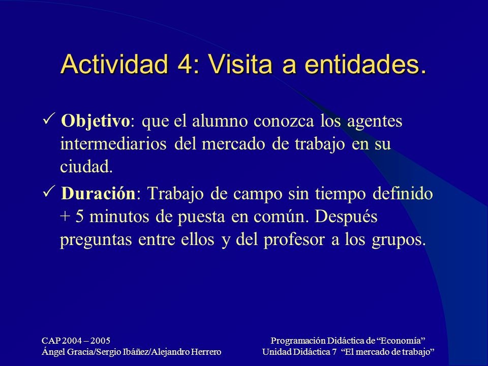 CAP 2004 – 2005 Ángel Gracia/Sergio Ibáñez/Alejandro Herrero Programación Didáctica de Economía Unidad Didáctica 7 El mercado de trabajo Actividad 4: