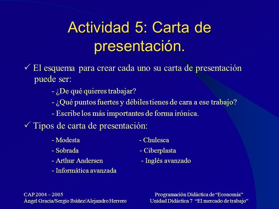 CAP 2004 – 2005 Ángel Gracia/Sergio Ibáñez/Alejandro Herrero Programación Didáctica de Economía Unidad Didáctica 7 El mercado de trabajo Actividad 5: