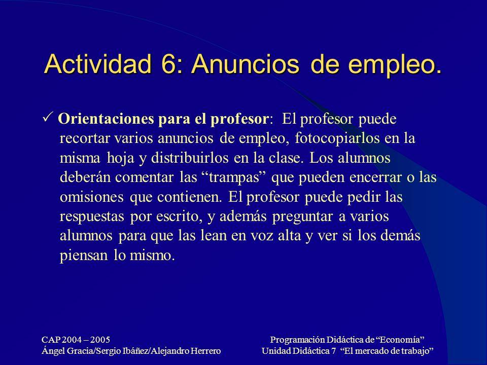 CAP 2004 – 2005 Ángel Gracia/Sergio Ibáñez/Alejandro Herrero Programación Didáctica de Economía Unidad Didáctica 7 El mercado de trabajo Actividad 6: