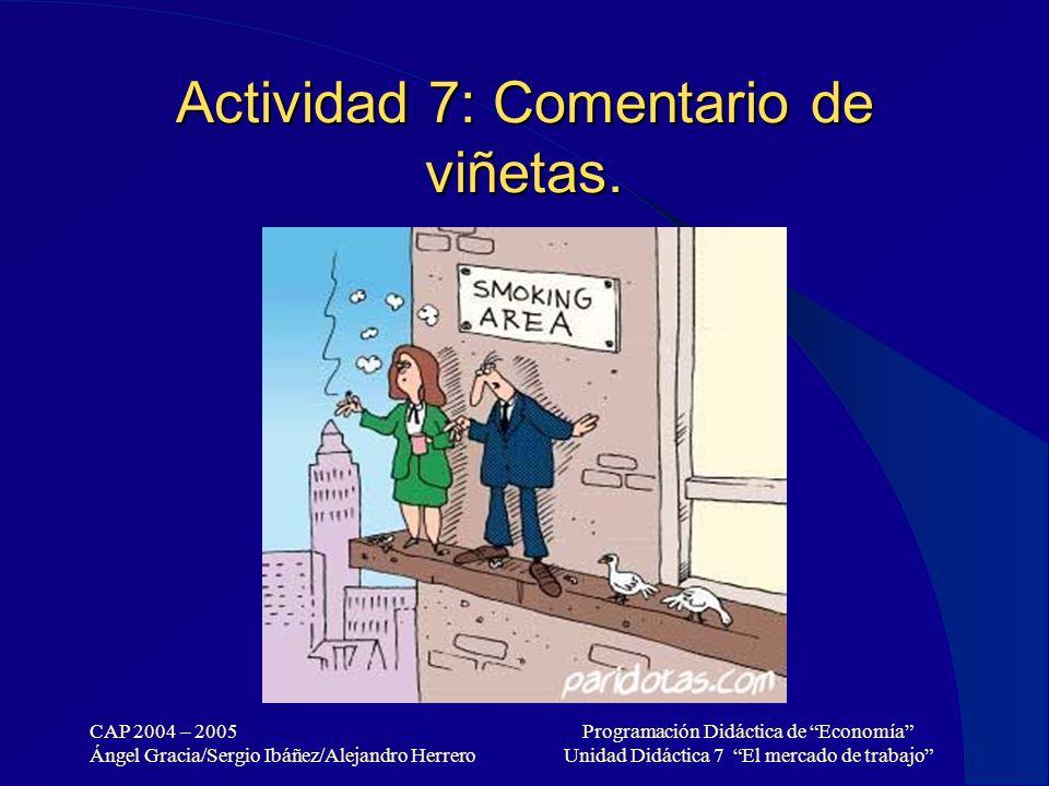 CAP 2004 – 2005 Ángel Gracia/Sergio Ibáñez/Alejandro Herrero Programación Didáctica de Economía Unidad Didáctica 7 El mercado de trabajo Actividad 7: