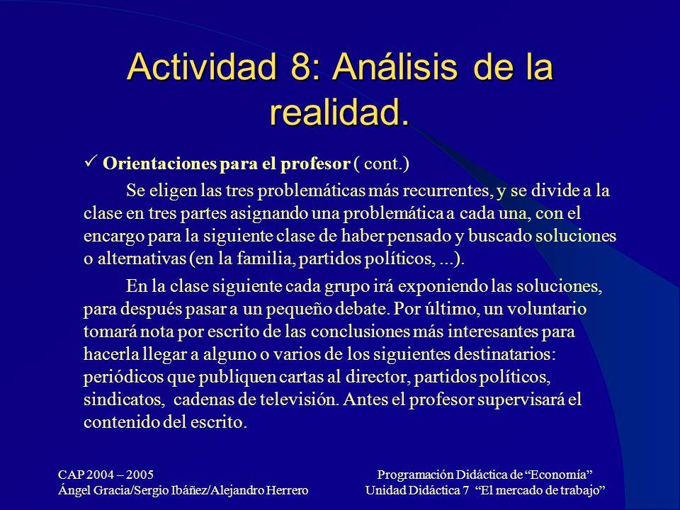 CAP 2004 – 2005 Ángel Gracia/Sergio Ibáñez/Alejandro Herrero Programación Didáctica de Economía Unidad Didáctica 7 El mercado de trabajo Actividad 8: