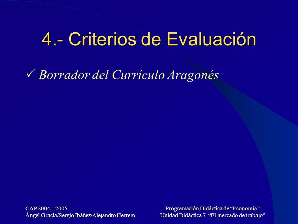 CAP 2004 – 2005 Ángel Gracia/Sergio Ibáñez/Alejandro Herrero Programación Didáctica de Economía Unidad Didáctica 7 El mercado de trabajo 4.- Criterios