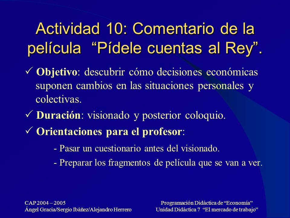 CAP 2004 – 2005 Ángel Gracia/Sergio Ibáñez/Alejandro Herrero Programación Didáctica de Economía Unidad Didáctica 7 El mercado de trabajo Actividad 10: