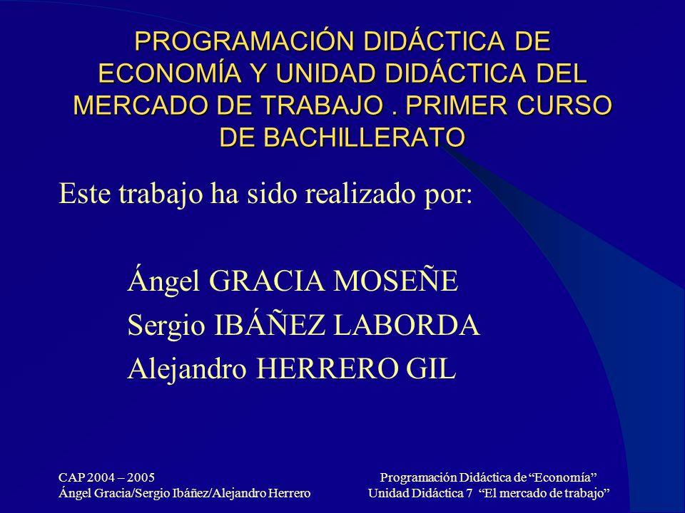 CAP 2004 – 2005 Ángel Gracia/Sergio Ibáñez/Alejandro Herrero Programación Didáctica de Economía Unidad Didáctica 7 El mercado de trabajo PROGRAMACIÓN