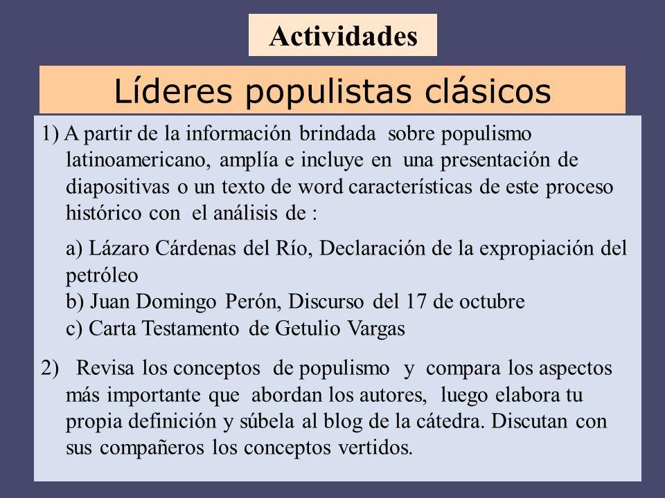 1) A partir de la información brindada sobre populismo latinoamericano, amplía e incluye en una presentación de diapositivas o un texto de word caract