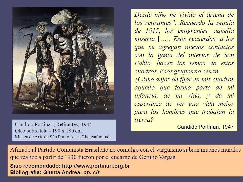 Afiliado al Partido Comunista Brasileño no comulgó con el varguismo si bien muchos murales que realizó a partir de 1930 fueron por el encargo de Getul
