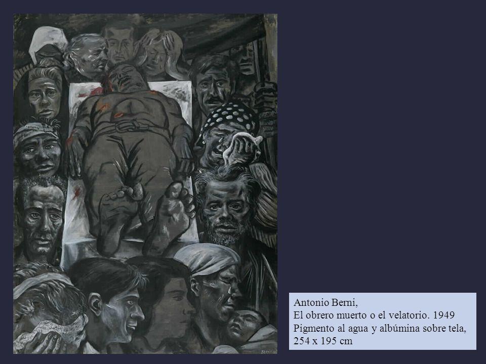 Antonio Berni, El obrero muerto o el velatorio. 1949 Pigmento al agua y albúmina sobre tela, 254 x 195 cm