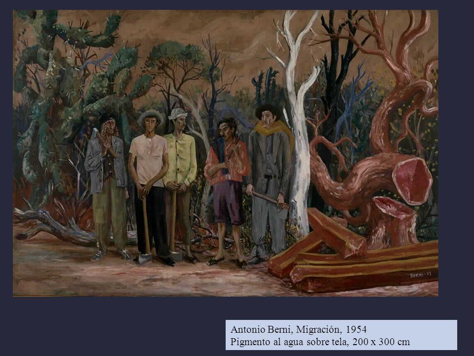 Antonio Berni, Migración, 1954 Pigmento al agua sobre tela, 200 x 300 cm