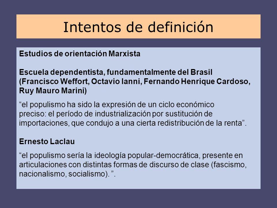 Estudios de orientación Marxista Escuela dependentista, fundamentalmente del Brasil (Francisco Weffort, Octavio Ianni, Fernando Henrique Cardoso, Ruy