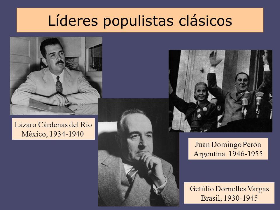 Lázaro Cárdenas del Río México, 1934-1940 Juan Domingo Perón Argentina. 1946-1955 Getúlio Dornelles Vargas Brasil, 1930-1945 Líderes populistas clásic