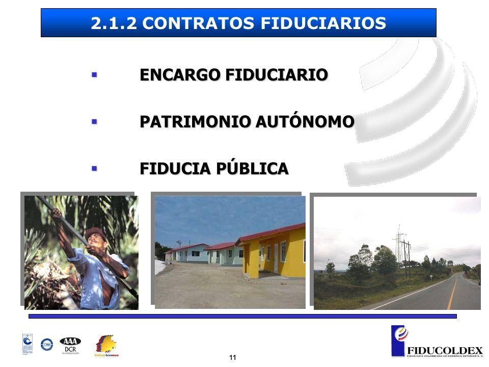 11 ENCARGO FIDUCIARIO ENCARGO FIDUCIARIO PATRIMONIO AUTÓNOMO PATRIMONIO AUTÓNOMO FIDUCIA PÚBLICA FIDUCIA PÚBLICA 2.1.2 CONTRATOS FIDUCIARIOS