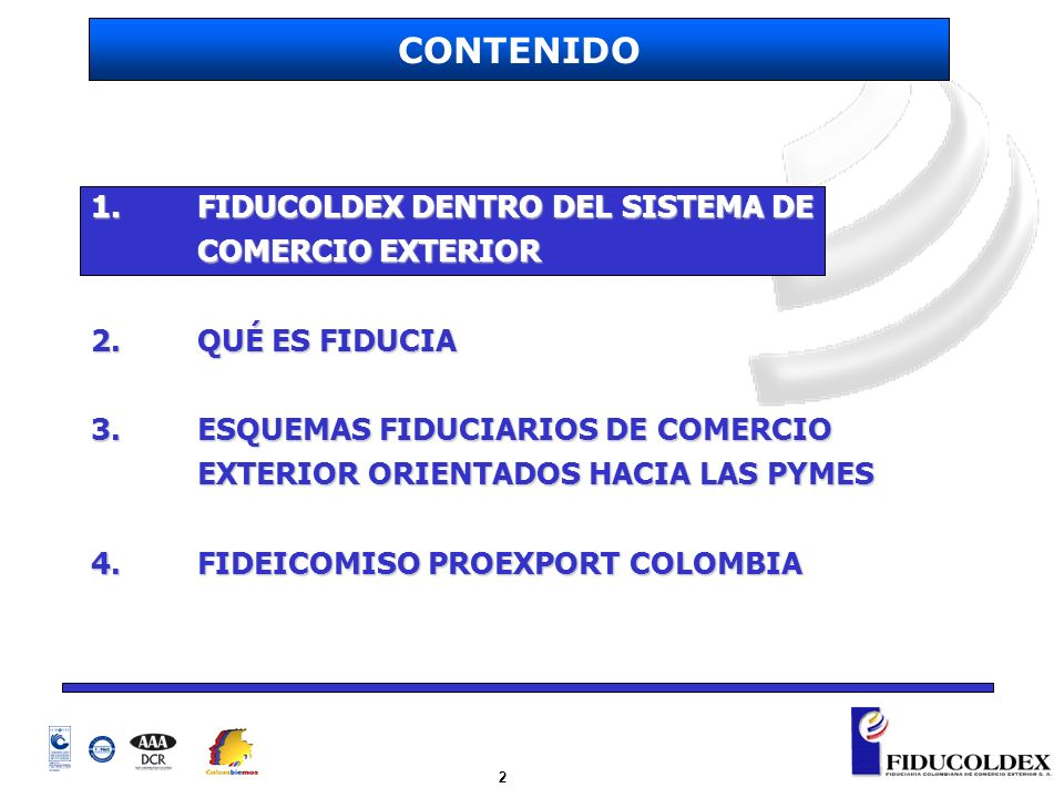 2 1. FIDUCOLDEX DENTRO DEL SISTEMA DE COMERCIO EXTERIOR 2.QUÉ ES FIDUCIA 3.ESQUEMAS FIDUCIARIOS DE COMERCIO EXTERIOR ORIENTADOS HACIA LAS PYMES 4.FIDE