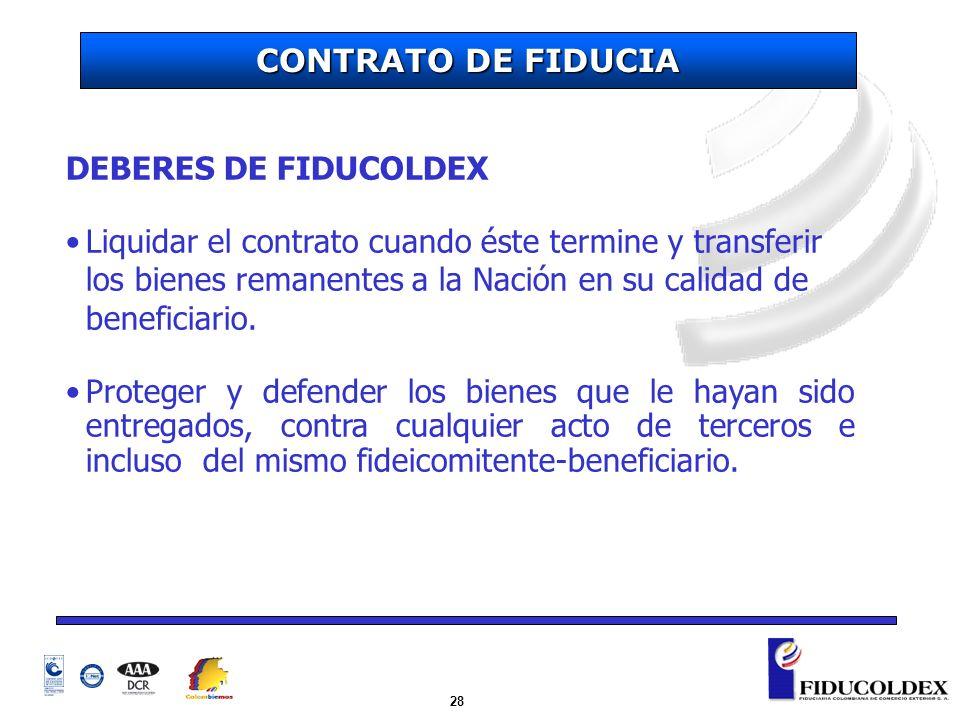 28 DEBERES DE FIDUCOLDEX Liquidar el contrato cuando éste termine y transferir los bienes remanentes a la Nación en su calidad de beneficiario. Proteg