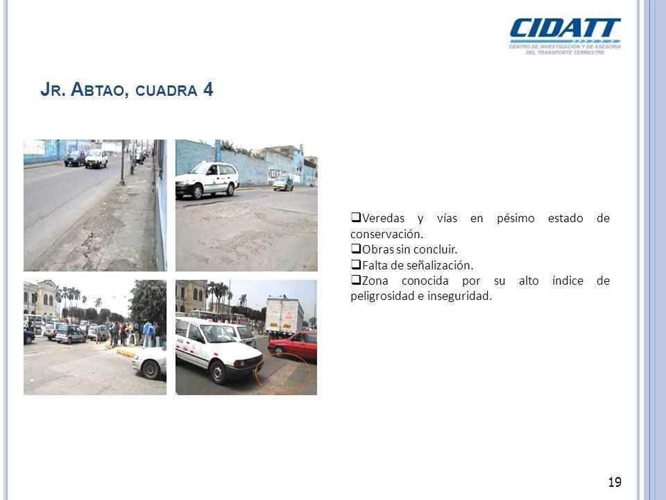 J R. A BTAO, CUADRA 4 Veredas y vías en pésimo estado de conservación. Obras sin concluir. Falta de señalización. Zona conocida por su alto índice de